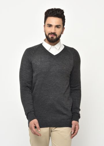 SANSKAR MEN ANTHRA MELANGE KNIT WINTER WEAR SWEATER