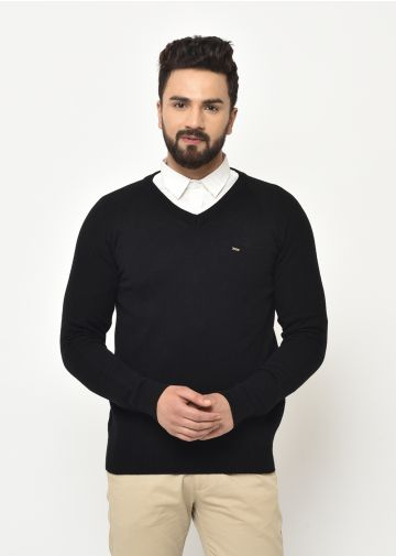 SANSKAR MENS BLACK KNIT WINTER WEAR SWEATER