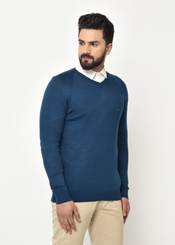 SANSKAR MEN PEACOCK GREEN KNIT WINTER WEAR SWEATER