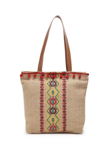 LIVE FIT  JUTE EMBROIDERED HANDBAG - NATURAL