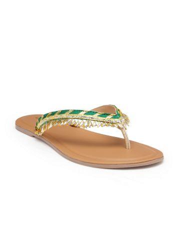 LIVE FIT FOOTWEAR WOMEN SANDAL GREEN-GOLD