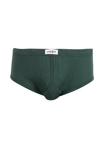 LIVE FIT INNERWEAR BRIEF GREEN (FRONT OPEN)