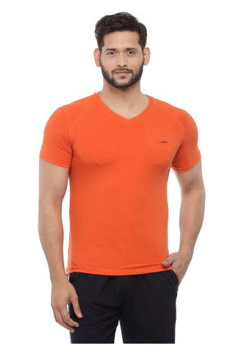 LIVE FIT BAMBOO BLEND  YOGA T SHIRT - BURNT ORANGE