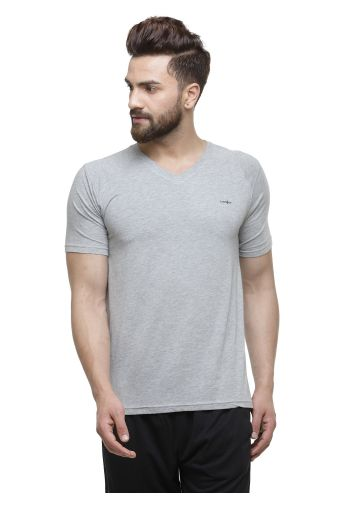 LIVE FIT BAMBOO BLEND YOGA T SHIRT- GREY MELANGE