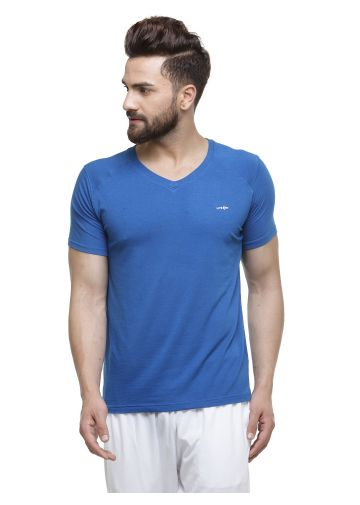 LIVE FIT BAMBOO BLEND YOGA T SHIRT - BLUE