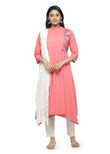 AASTHA EMBROIDERED ASYMMETRIC SUIT SET IN PINK