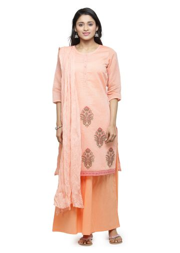 AASTHA CHANDERI PRINTED SUIT SET IN PINK