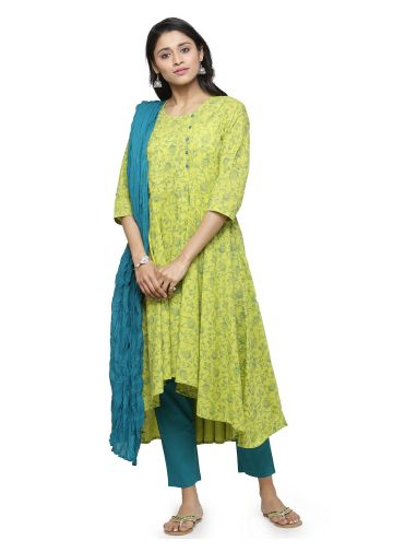 AASTHA PRINTED ASYMMETRIC SUIT SET IN GREEN