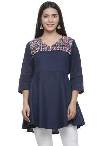 AASTHA WOMEN INDOWESTERN TUNIC NAVY