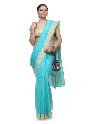 AASTHA HANDWOVEN CHANDERI SAREE IN TURQUOISE