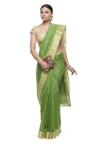 AASTHA HANDWOVEN CHANDERI SAREE IN GREEN