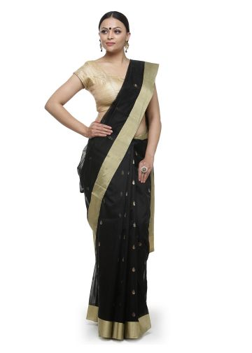 AASTHA HANDWOVEN CHANDERI SAREE IN BLACK