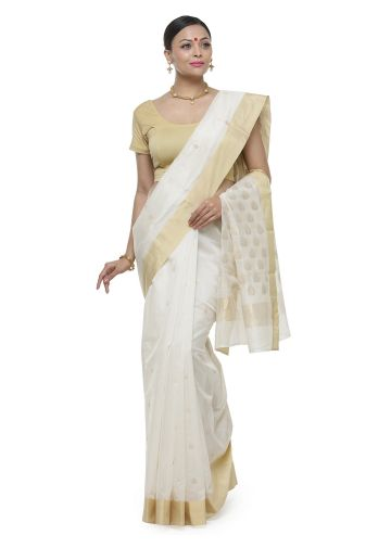 AASTHA HANDWOVEN CHANDERI SAREE IN WHITE