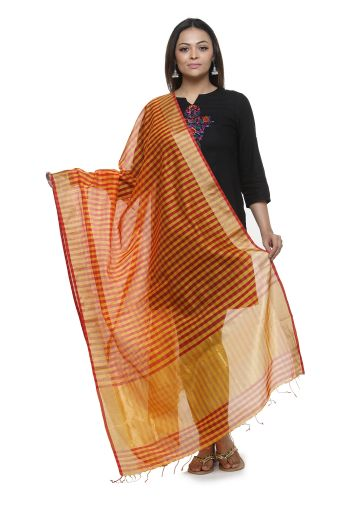 AASTHA HANDWOVEN CHANDERI DUPPATA IN CHECK