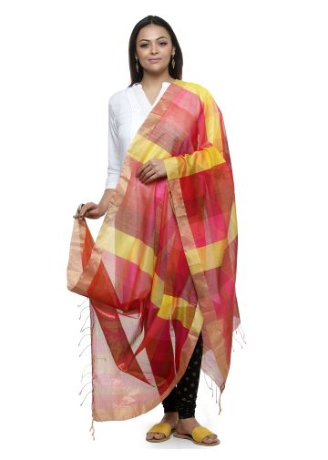 AASTHA HANDWOVEN CHANDERI DUPPATA IN RED CHECK