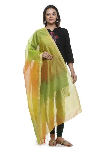 AASTHA HANDWOVEN CHANDERI DUPPATA IN OMBRE