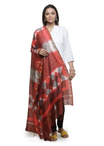 AASTHA HAND BLOCKED CHANDERI DUPPATA IN BROWN