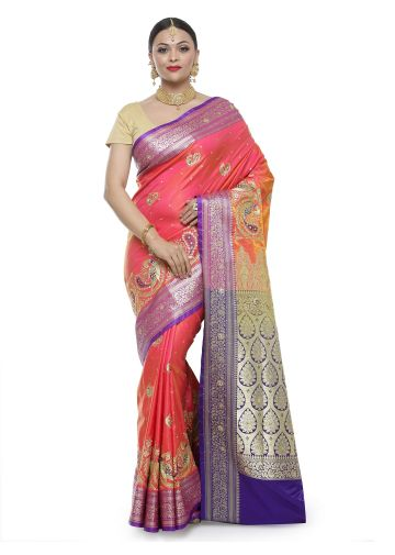 AASTHA ETHNIC SAREE CORAL /GOLD
