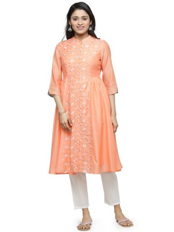 AASTHA WOMEN CHANDERI BLEND KURTA PEACH (B)