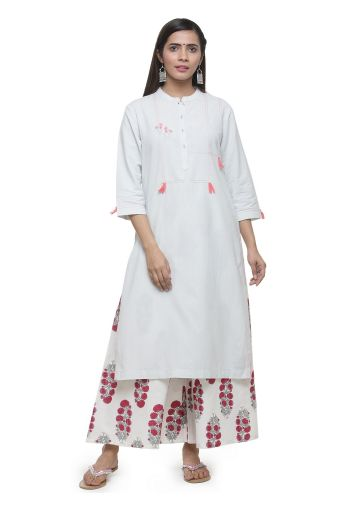 AASTHA WOMEN KHADI KURTA -ICE BLUE