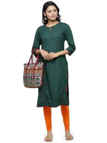 AASTHA WOMEN KHADI KURTA DARK GREEN