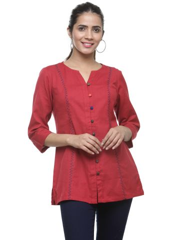 AASTHA WOMEN KHADI EMBROIDERED TUNIC- MAROON