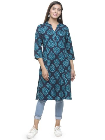 AASTHA WOMEN INDOWESTERN KURTA NAVY BLUE
