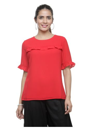 AASTHA WOMEN INDOWESTERN TOP RED