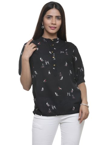 AASTHA WOMEN INDOWESTERN TOP BLACK