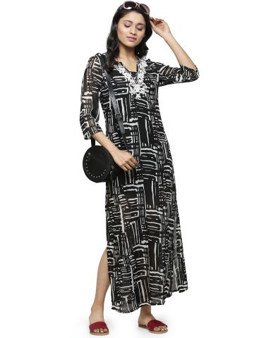 AASTHA WOMEN INDOWESTERN POLY GGT THREE  FOURTH V NECK DRESS