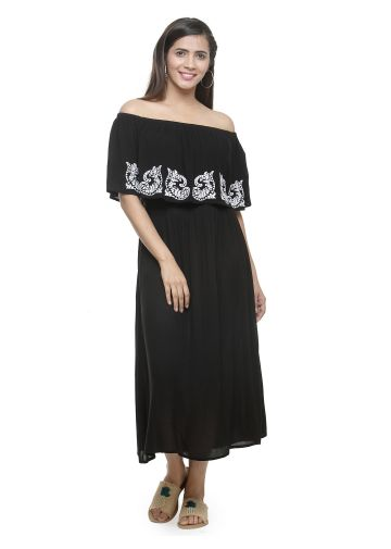 AASTHA OFF SHOULDER EMBROIDERED DRESS - BLACK