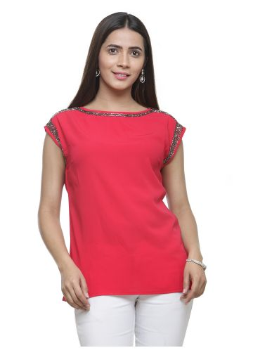 AASTHA EMBELLISHED TOP - RED
