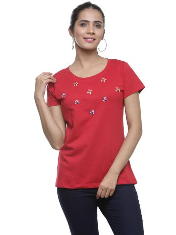 AASTHA EMBELLISHED ROUND NECK TEE  - RED