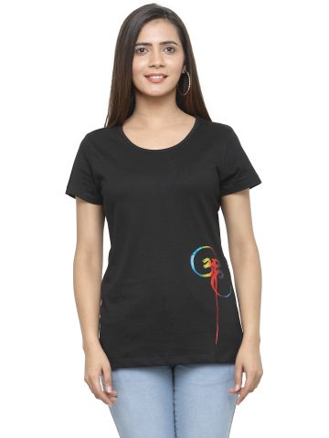 AASTHA ROUND NECK PRINTED TEE  - BLACK-1