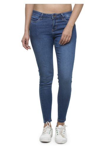 LIVE FIT WOMEN INDOWESTERN COTTON /POLY/LYCRA, YARN DYED DENIM MID BLUE