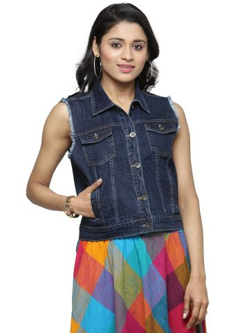 AASTHA WOMEN INDOWESTERN JACKET\OUTWEAR DARK BLUE