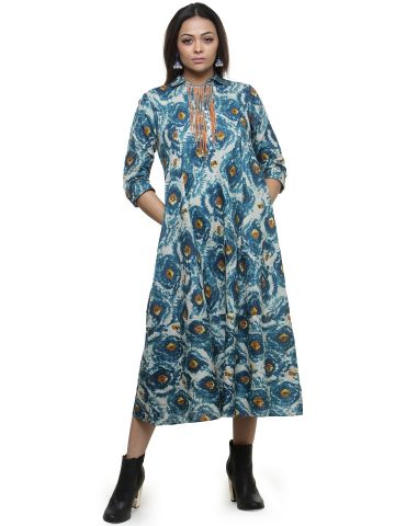 AASTHA WOMEN INDOWESTERN TUNIC BLUE