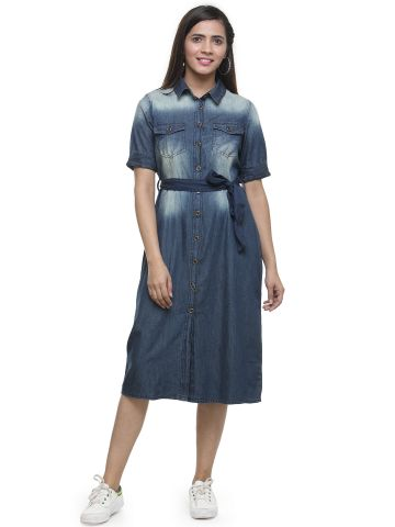 AASTHA WOMEN TINTED DENIM DRESS