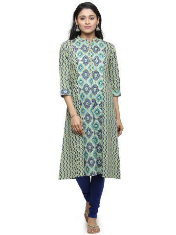 AASTHA WOMEN INDOWESTERN COTTON THREE FORTH ROUND NECK KURTA