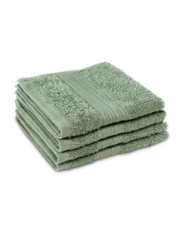AASTHA HOME FACE TOWEL OLIVE GREEN (SET OF 4)