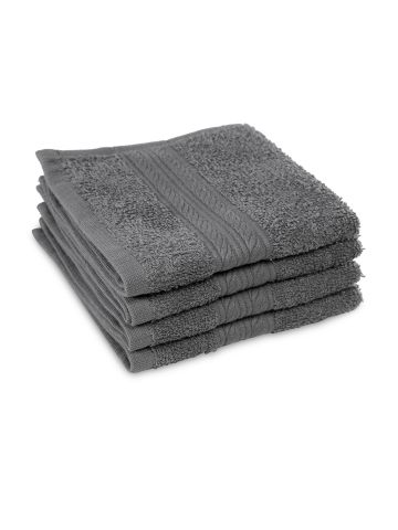 AASTHA HOME FACE TOWEL DARK GREY (SET OF 4)