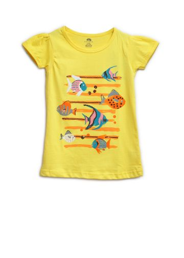 AASTHA KIDS GIRL T SHIRTS YELLOW