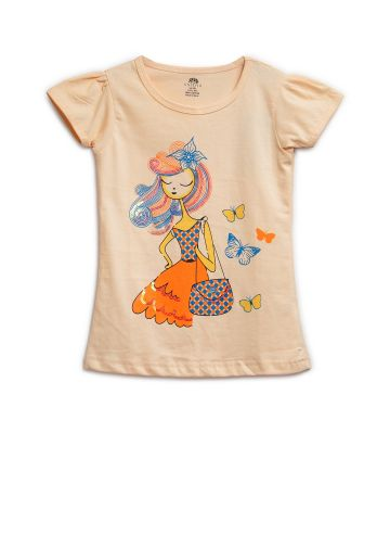 AASTHA KIDS GIRL T SHIRTS PEACH