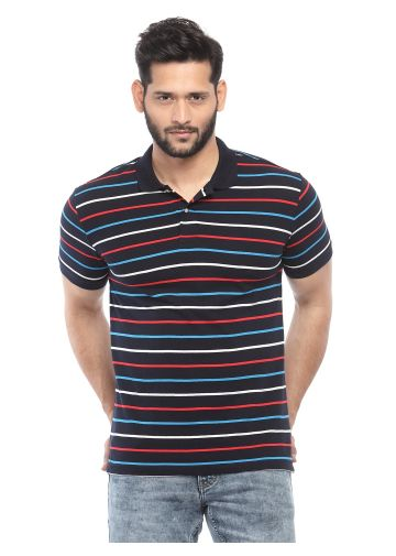 SANSKAR MENSWEAR STRIPER POLO RED-BLUE-TURQ-WHITE