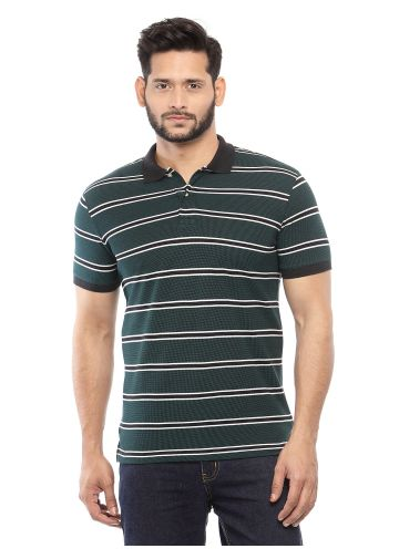 SANSKAR MENSWEAR STRIPER POLO GREEN-BLACK