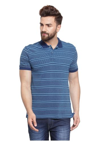 SANSKAR MENSWEAR STRIPER POLO NAVY-BLUE