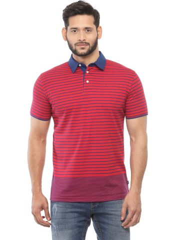 SANSKAR MENSWEAR STRIPER POLO TRUE BLUE-RED