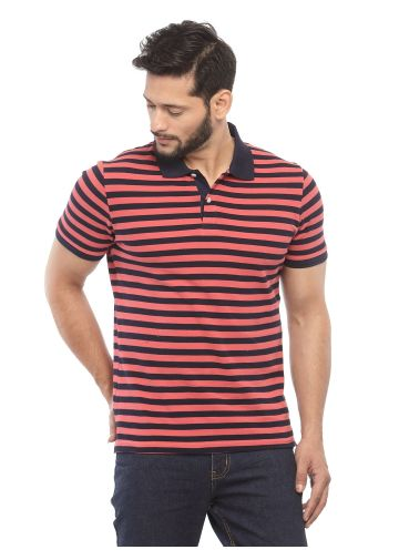 SANSKAR MENSWEAR STRIPER POLO PEACH BLOSSOM-TRUE BLUE