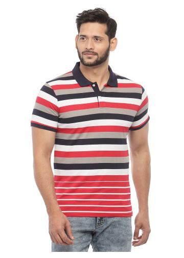 SANSKAR MENSWEAR STRIPER POLO RED-NAVY