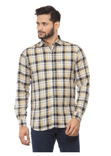 SANSKAR MENSWEAR CASUAL SHIRT PEACH INDIGO CHECK